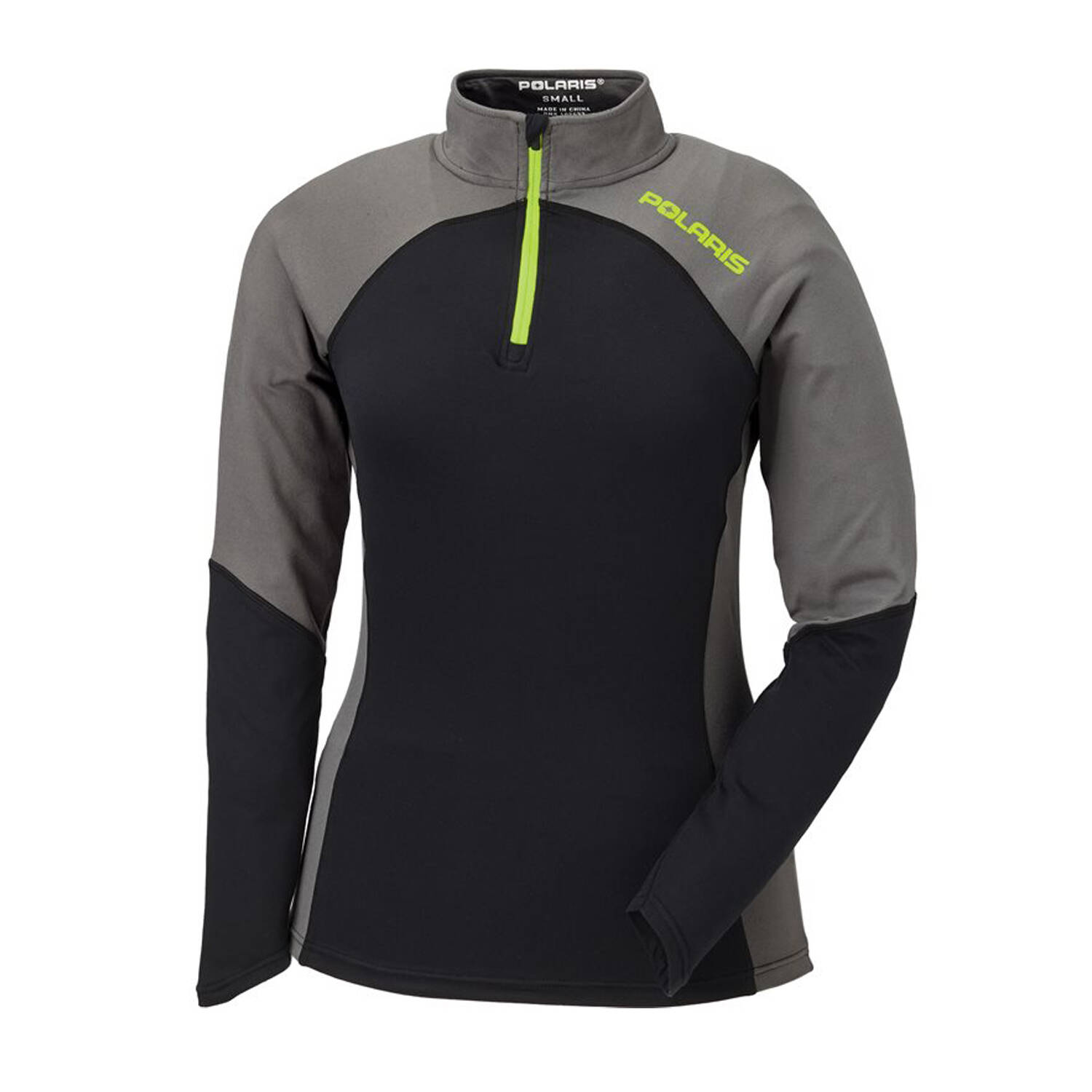 Women's Long-Sleeve Quarter-Zip Pullover with Lime Polaris® Logo, Black/Gray