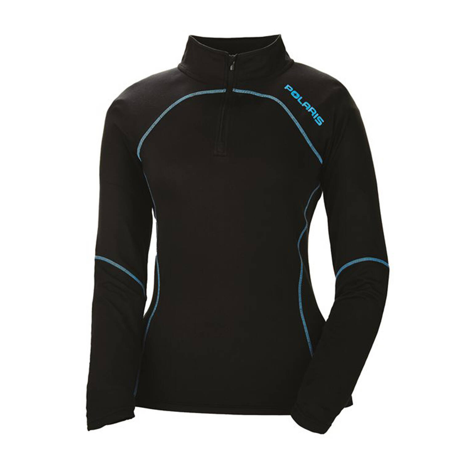 Women's Long-Sleeve Quarter-Zip Pullover with Blue Polaris® Logo, Black