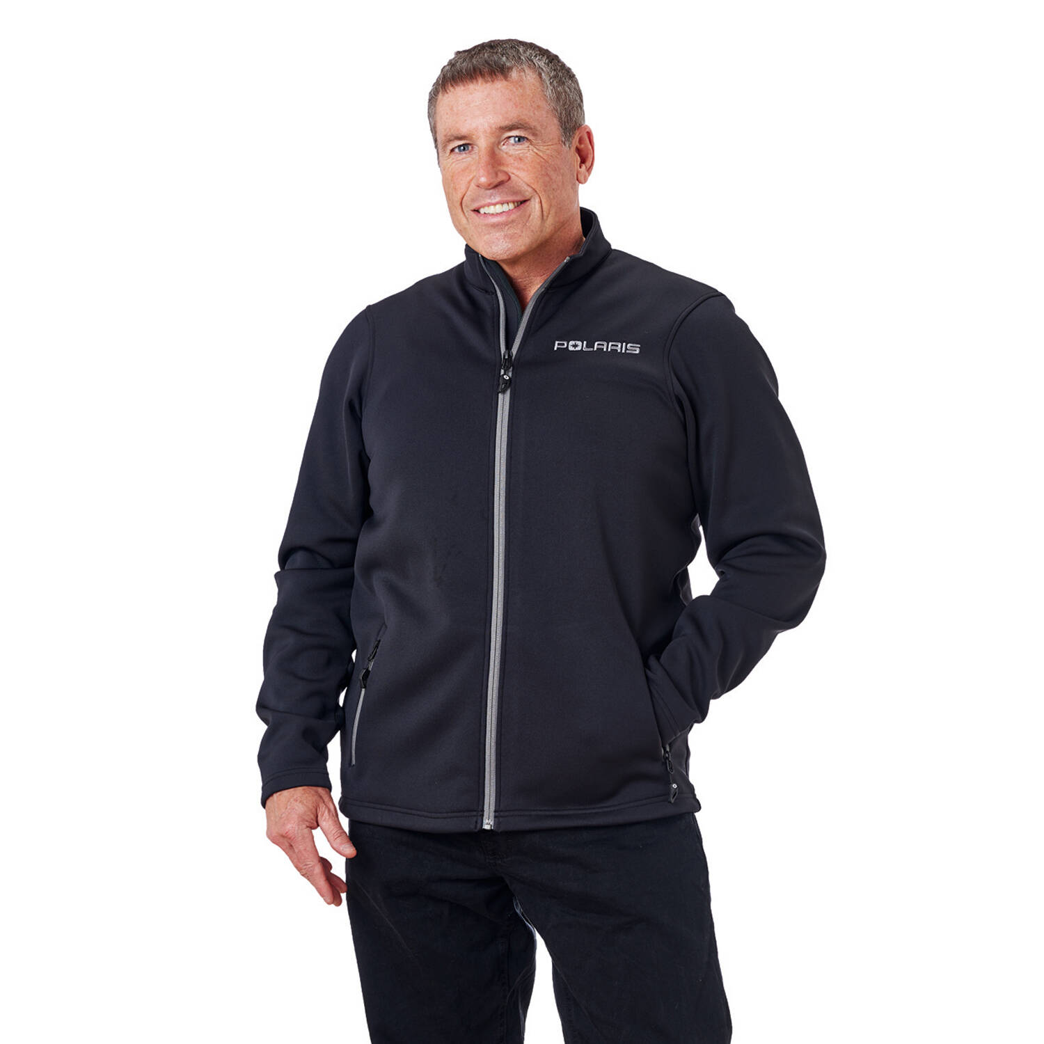 Men's Full-Zip Mid Layer Jacket with Gray Polaris® Logo, Black