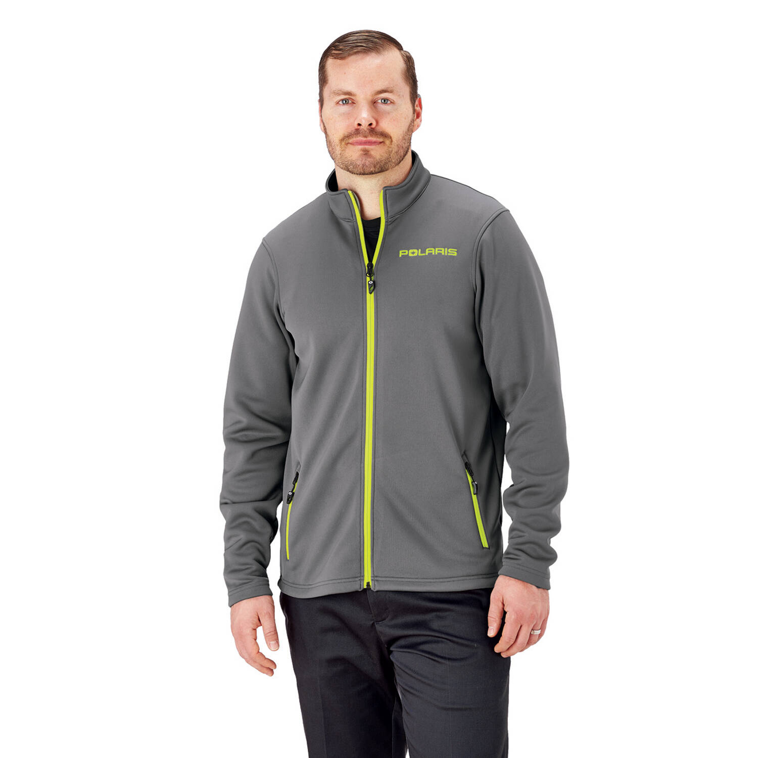 Men's Full-Zip Mid Layer Jacket with Lime Polaris® Logo, Gray