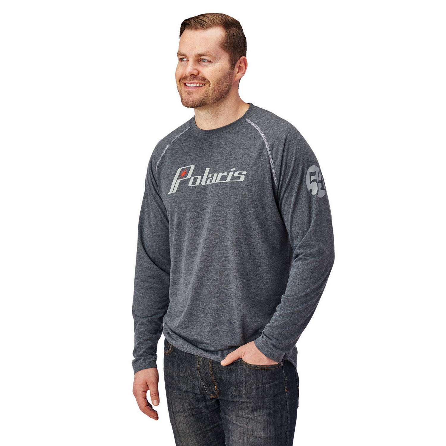 Men's Long-Sleeve Retro Graphic Performance Shirt with Polaris® Logo, Gray