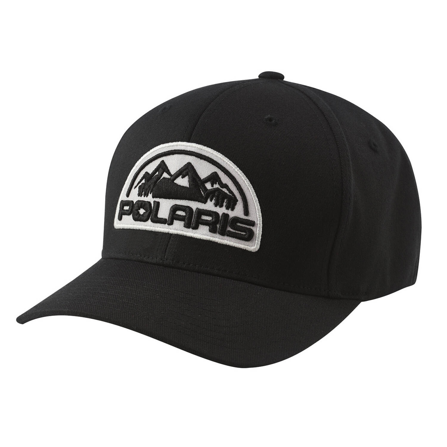 Unisex (L/XL) Flexfit Hat with Mountain Scape Polaris® Logo Patch, Black