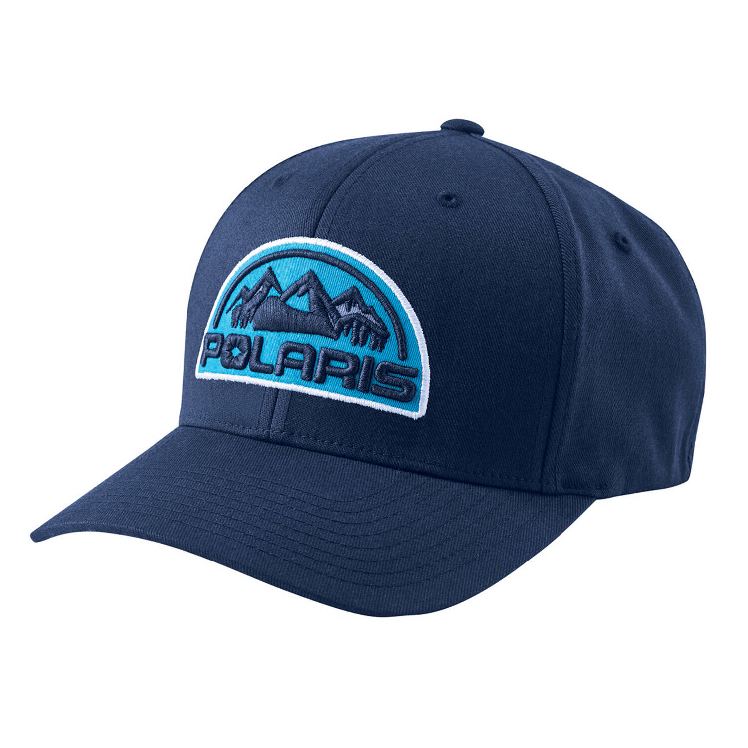 Unisex (L/XL) Flexfit Hat with Mountain Scape Polaris® Logo Patch, Navy