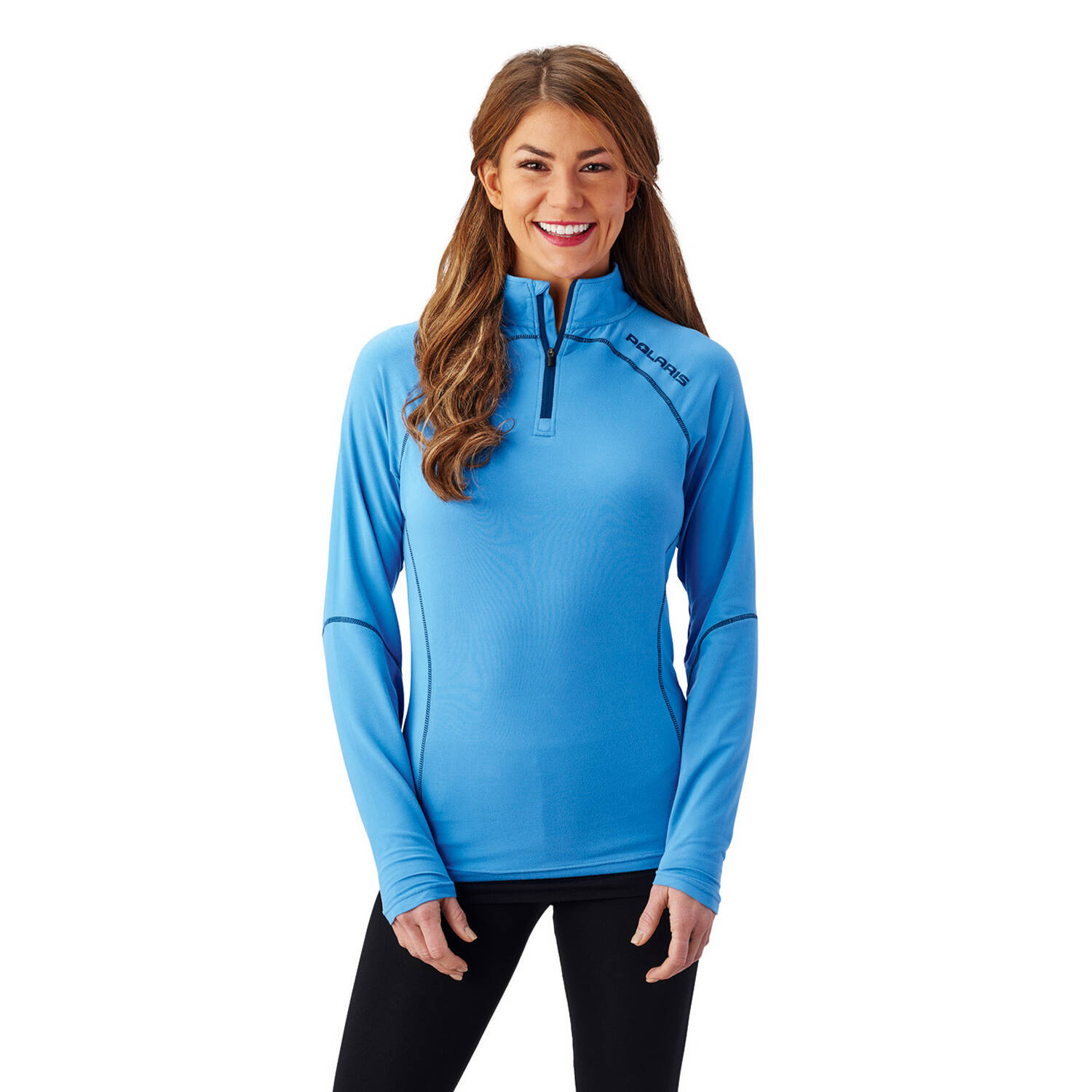 Women's Long-Sleeve Quarter-Zip Pullover with Navy Polaris® Logo, Marina Blue
