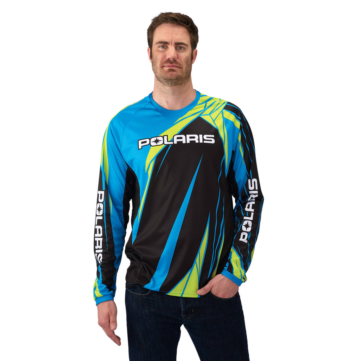 Unisex Long-Sleeve Off-Road Riding Jersey with Mesh Ventilated Panels, Blue and Lime