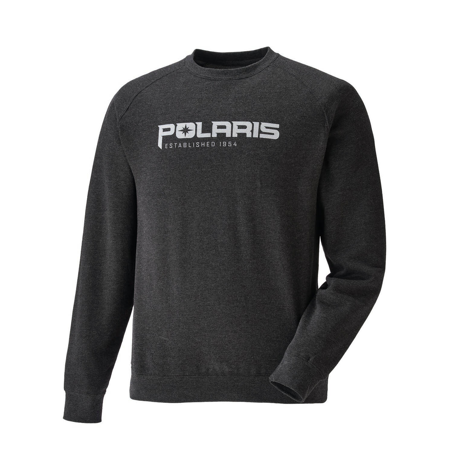 Men's Crew Sweatshirt with Polaris® Logo, Charcoal Heather