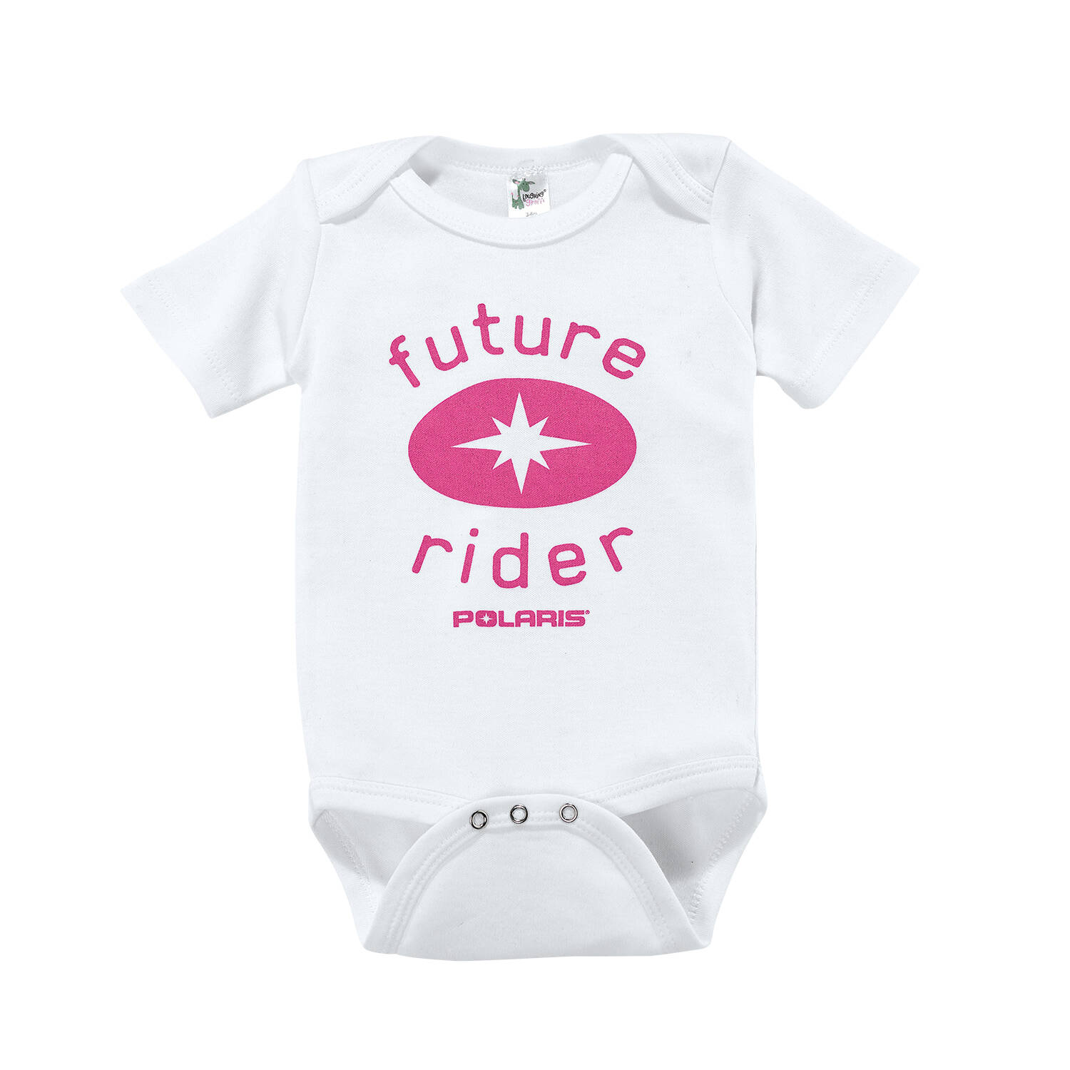 Baby Future Rider Onesie with Pink Polaris® Logo, White/Pink