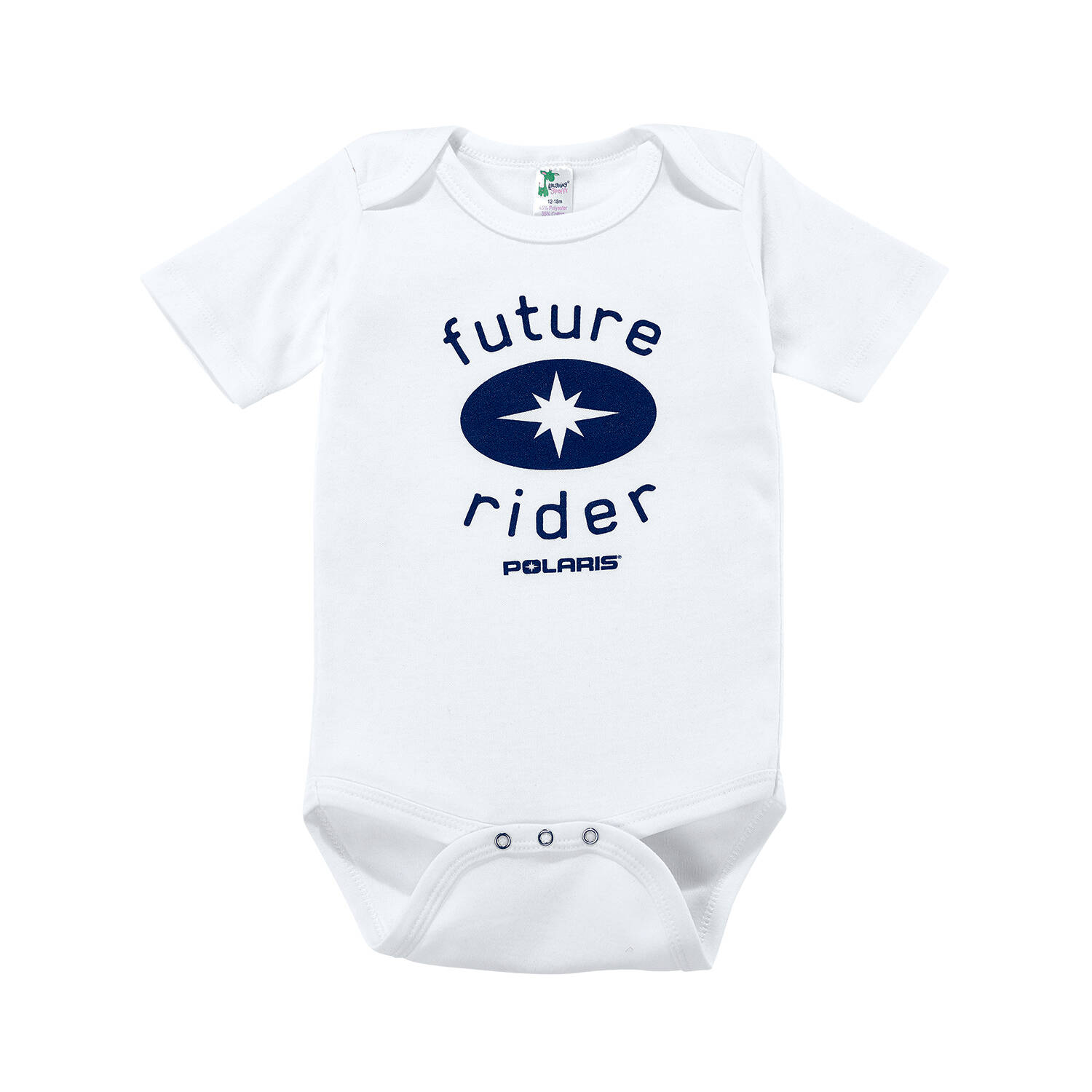 Baby Future Rider Onesie with Blue Polaris® Logo, White/Blue