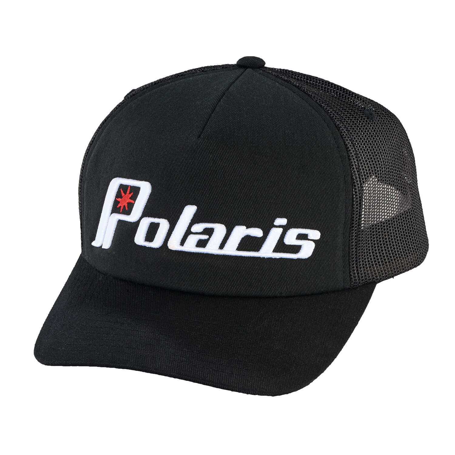 Men's Adjustable Mesh Snapback Hat with Retro White Polaris® Ellipse Logo, Black