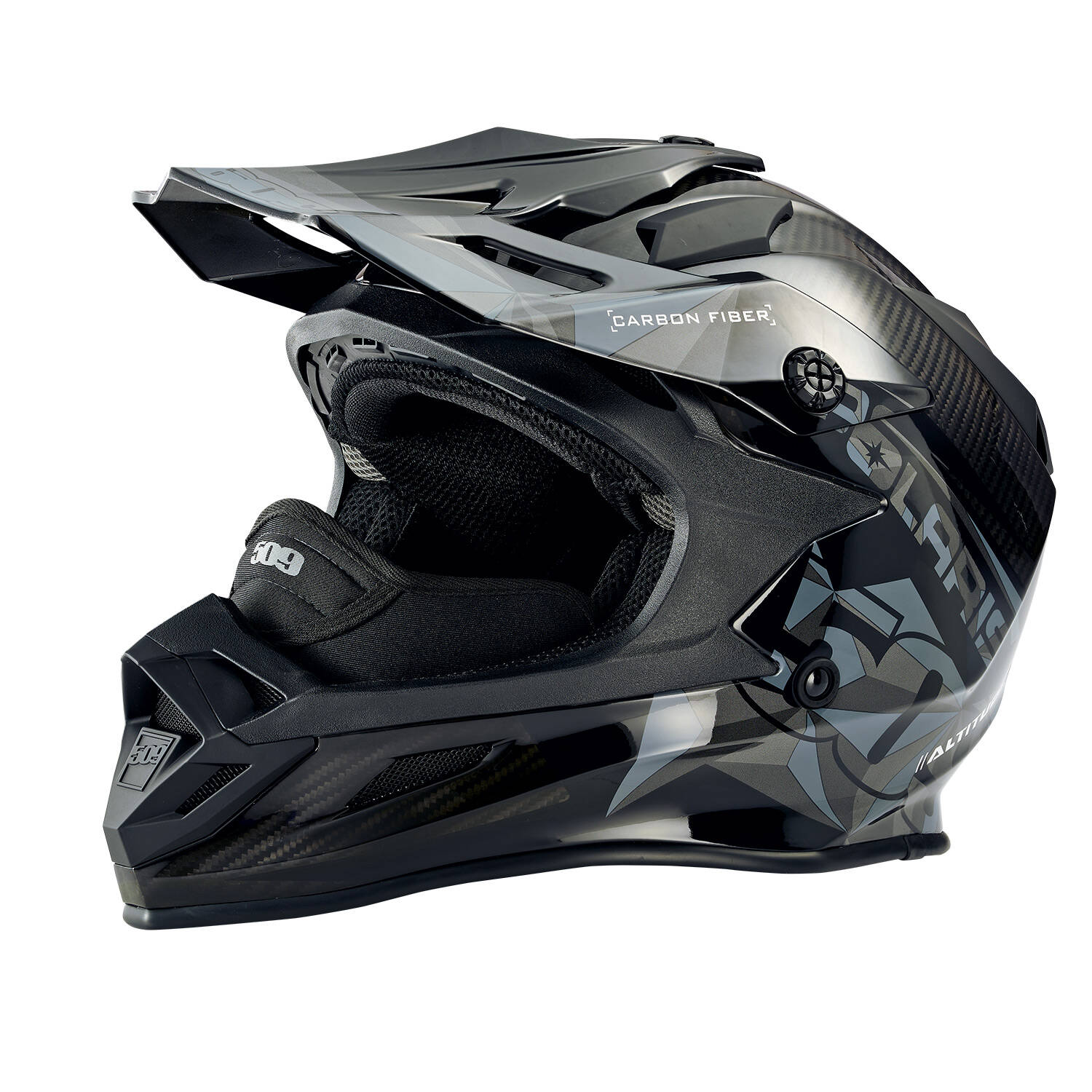 509® Altitude Adult Moto Helmet with Camera Mount, Gloss Black Carbon