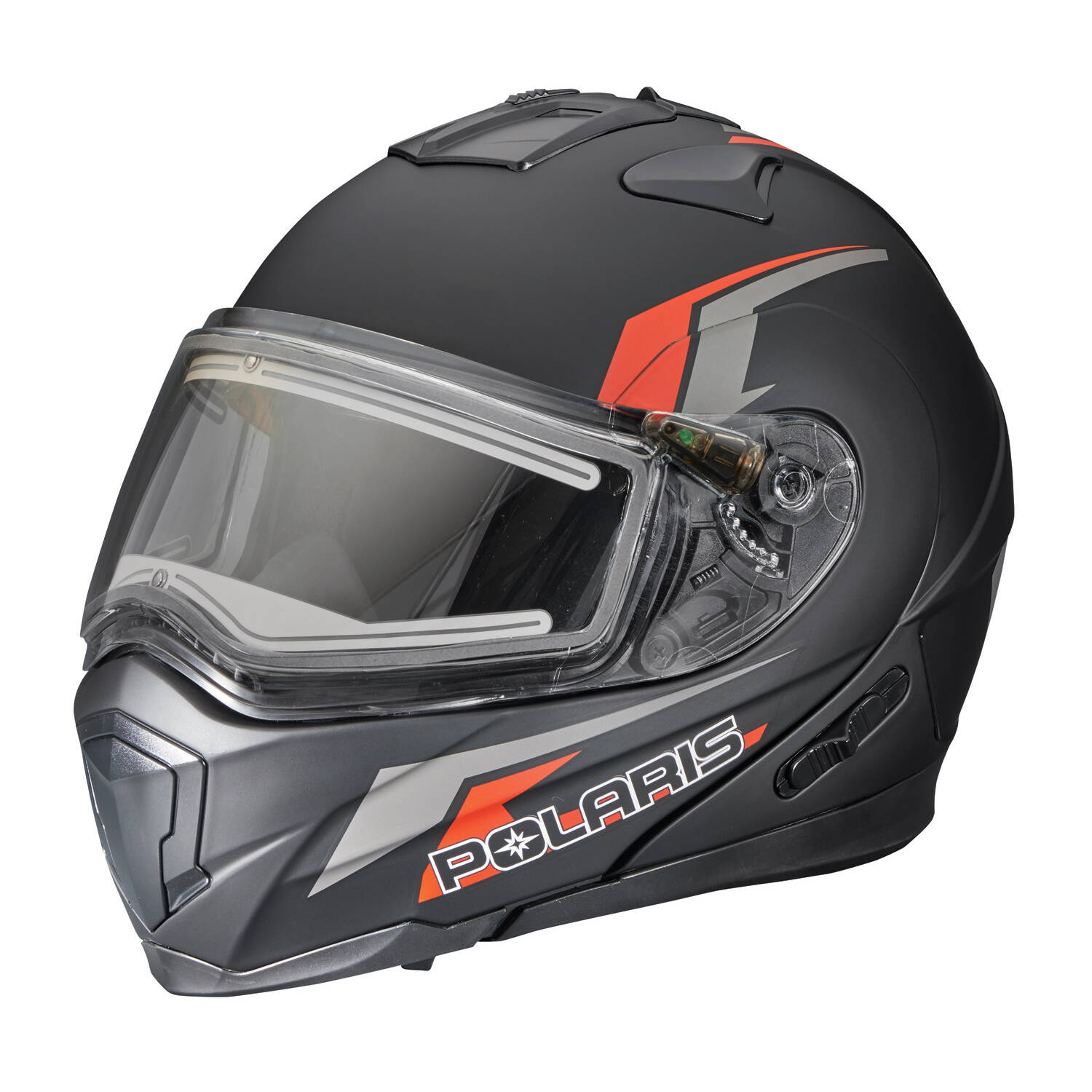 Modular Adult Helmet with Electric Shield, Black/Red