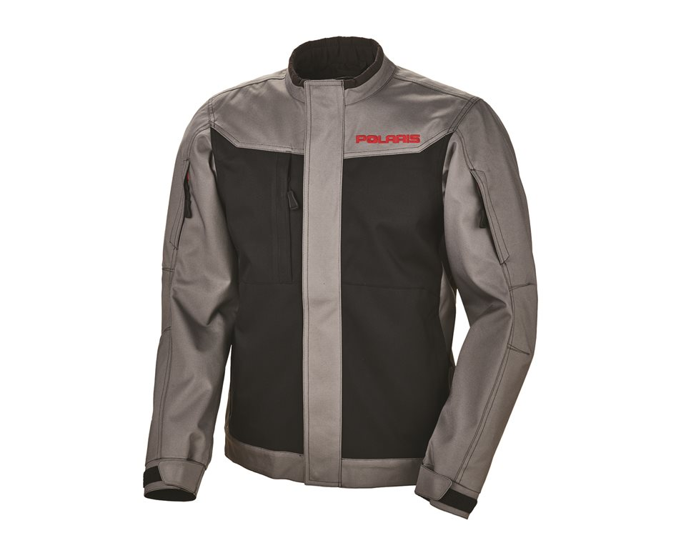 Men's Riding Jacket with Red Polaris® Logo, Black/Gray