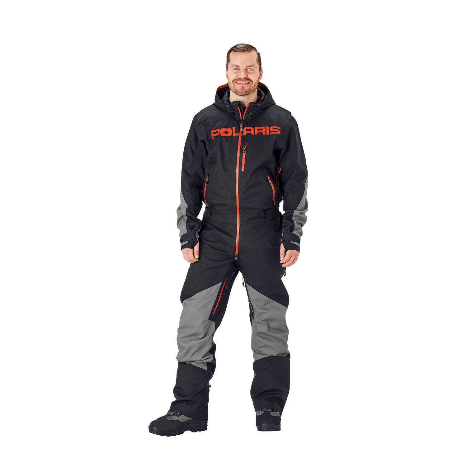 Men's Full-Zip Monosuit/Snowsuit with Water Repellent Coating, Black