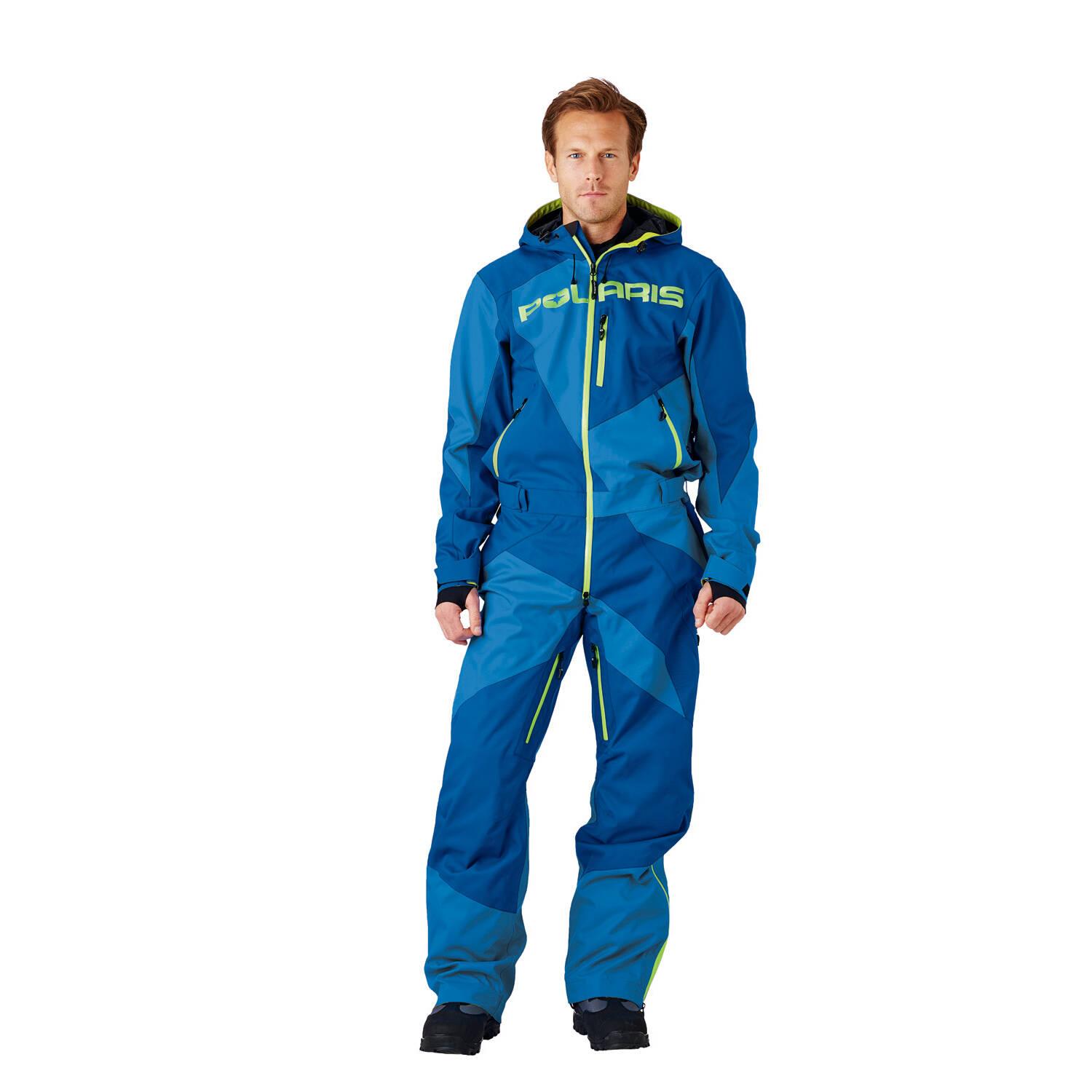 Men's Full-Zip Monosuit/Snowsuit with Water Repellent Coating, Blue