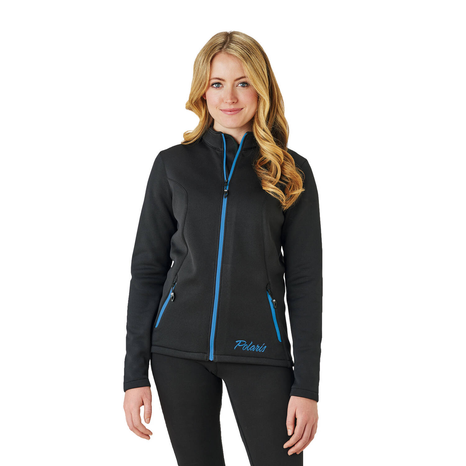 Women's Full-Zip Mid Layer Jacket with Blue Polaris® Logo, Black