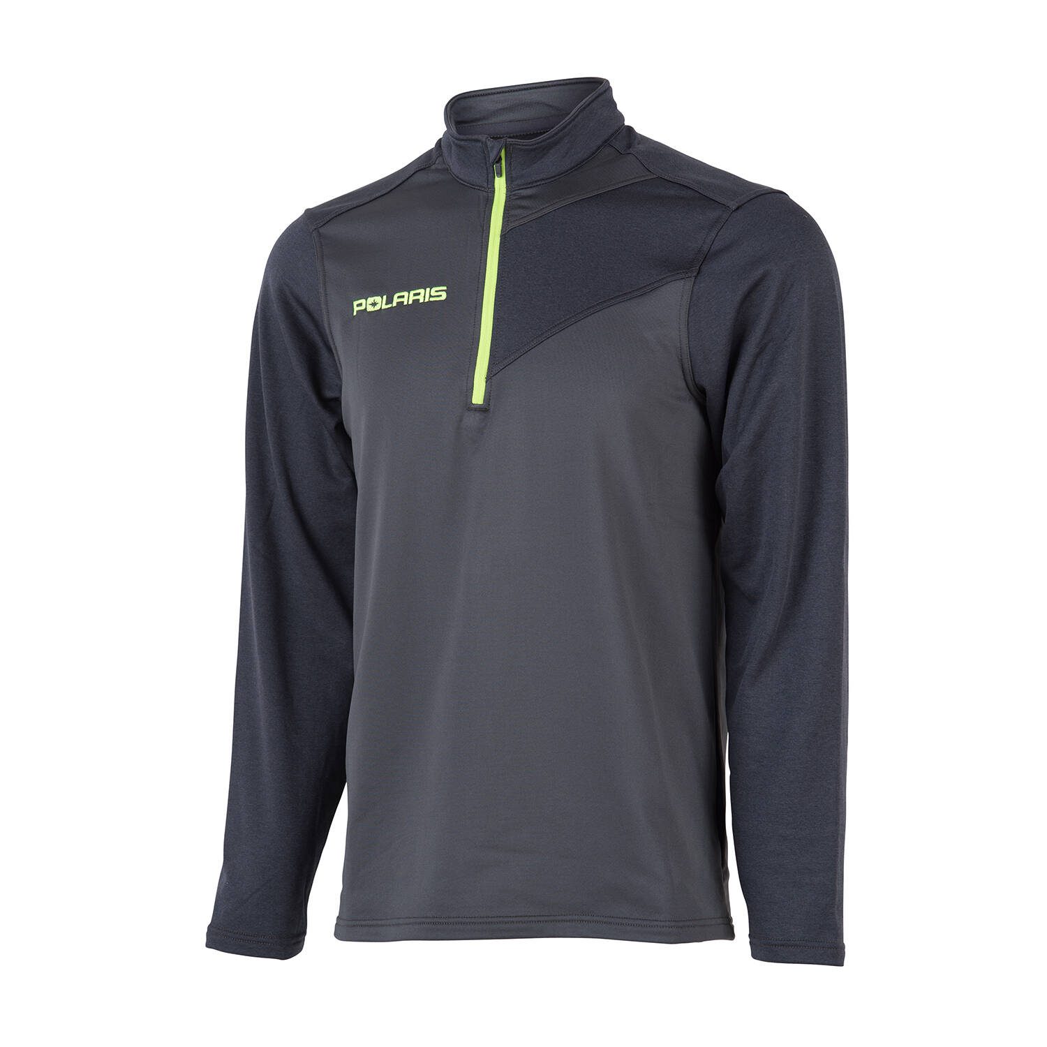 Men's Long-Sleeve Quarter-Zip Pullover with Lime Polaris® Logo, Gray