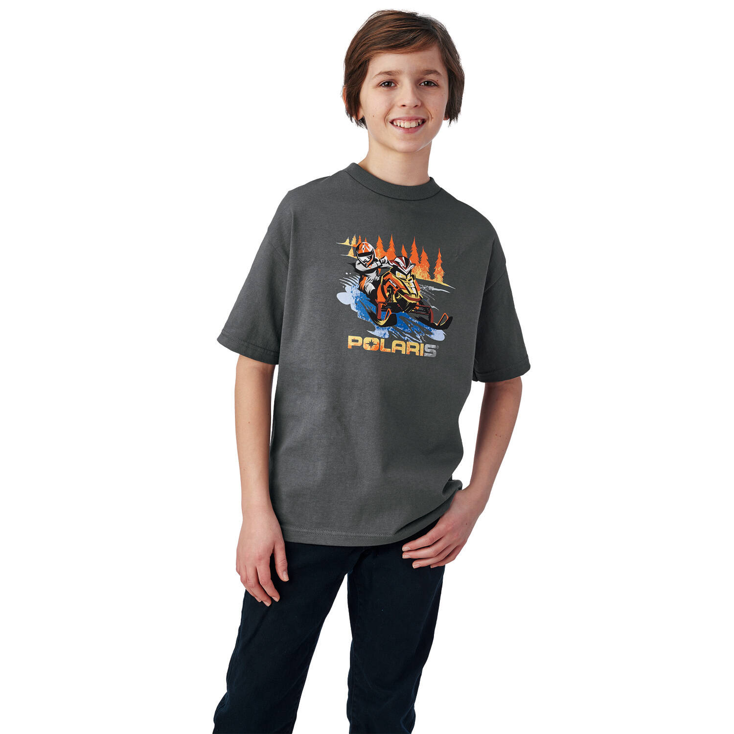 Youth Sled Graphic T-Shirt with Polaris® Logo, Gray