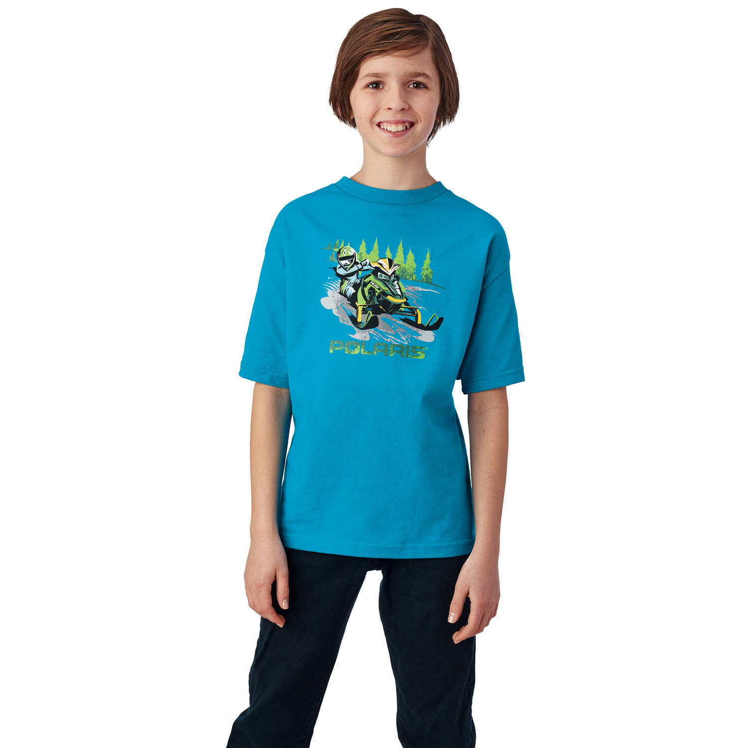 Youth Sled Graphic T-Shirt with Polaris® Logo, Blue