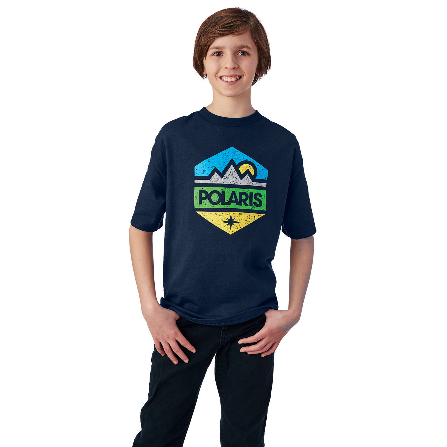 Youth Hex Graphic T-Shirt with Polaris® Logo, Navy