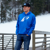 Men's Retro Hoodie Sweatshirt with Polaris® Logo, Royal - Image 3 de 3