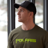 Men's Graphic T-Shirt with Polaris® Logo, Olive Heather - Image 2 de 3