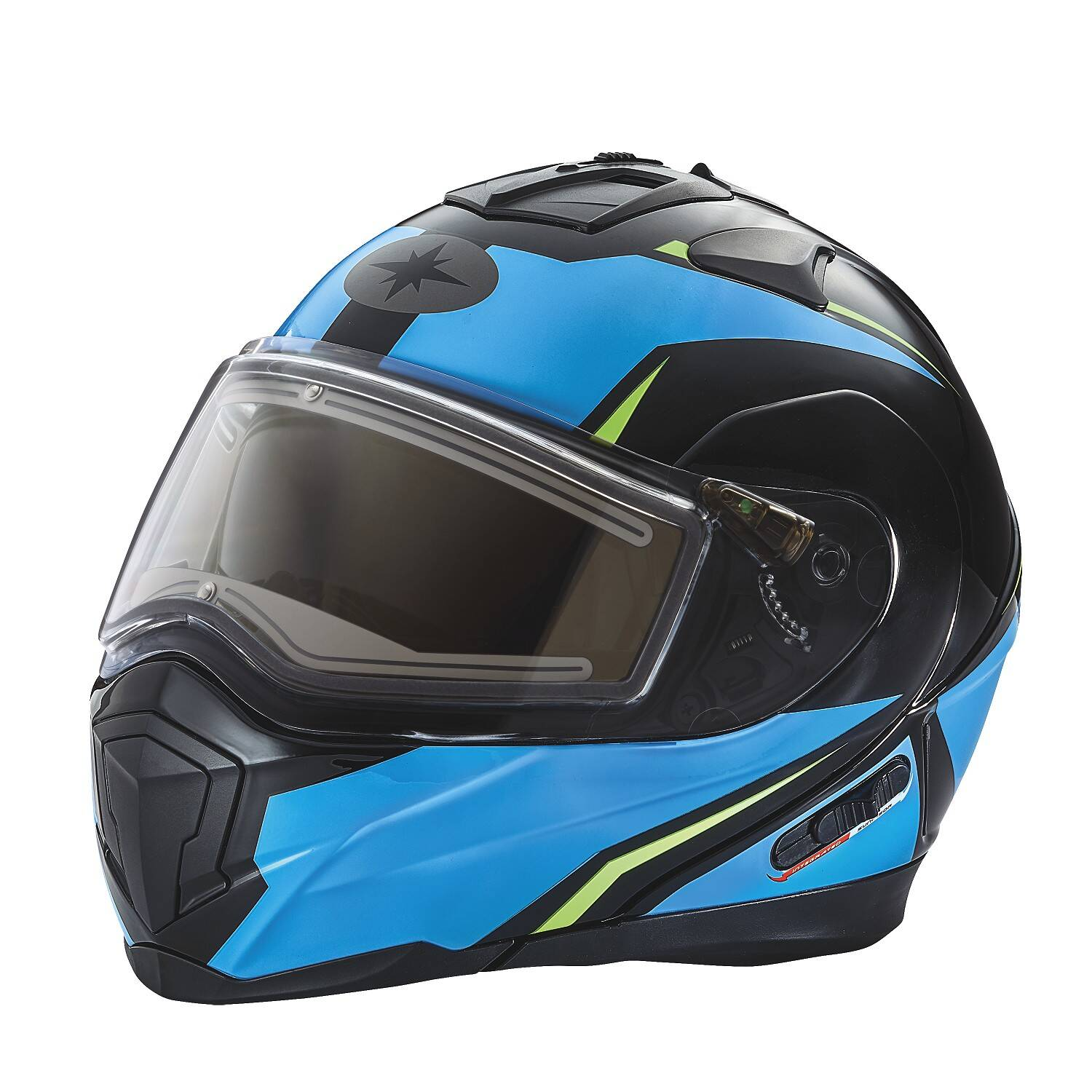 Modular 2.0 Adult Helmet with Electric Shield, Blue/Lime