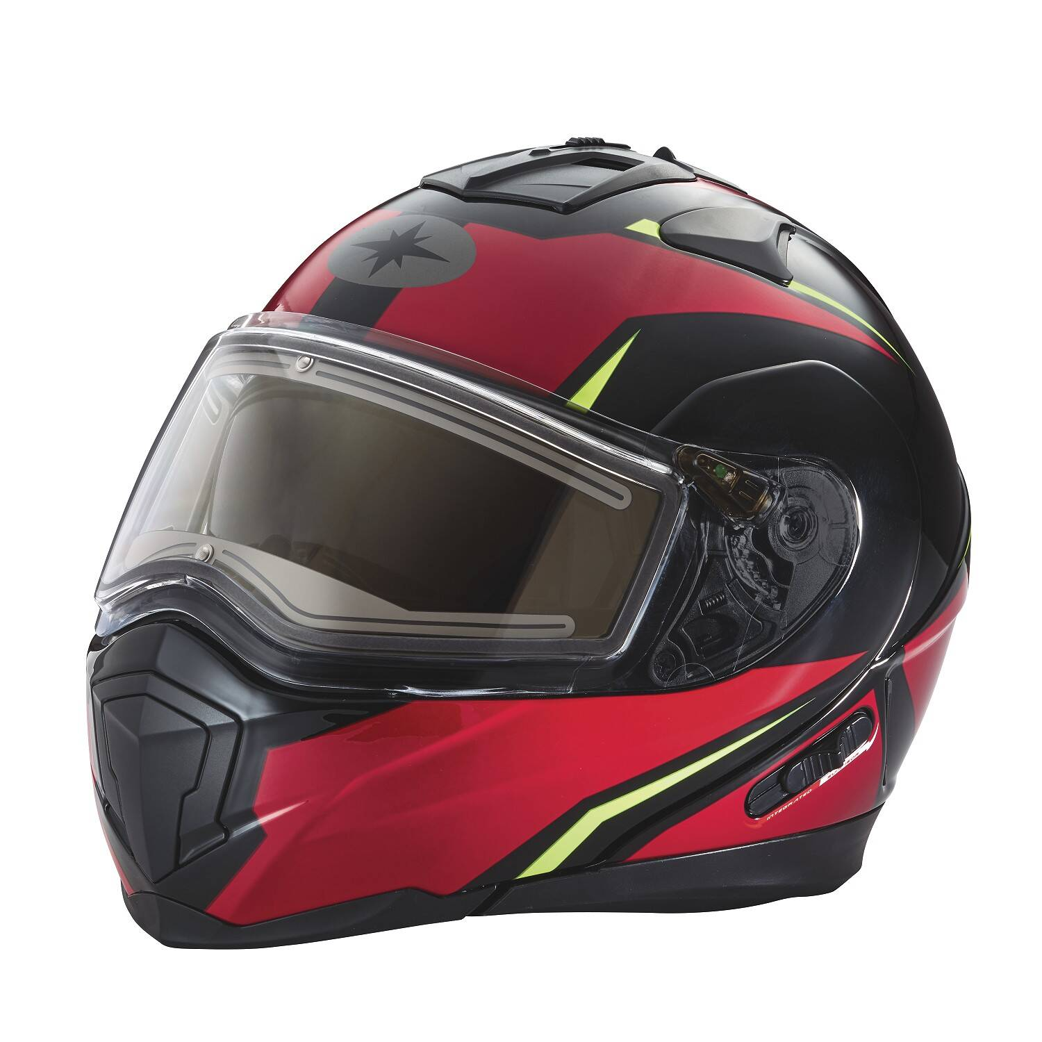 Modular 2.0 Adult Helmet with Electric Shield, Red/Lime