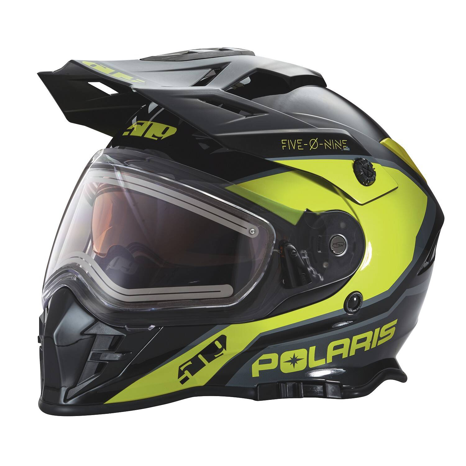509® Delta Adult Moto Helmet with Removable Electric Shield, Black/Lime