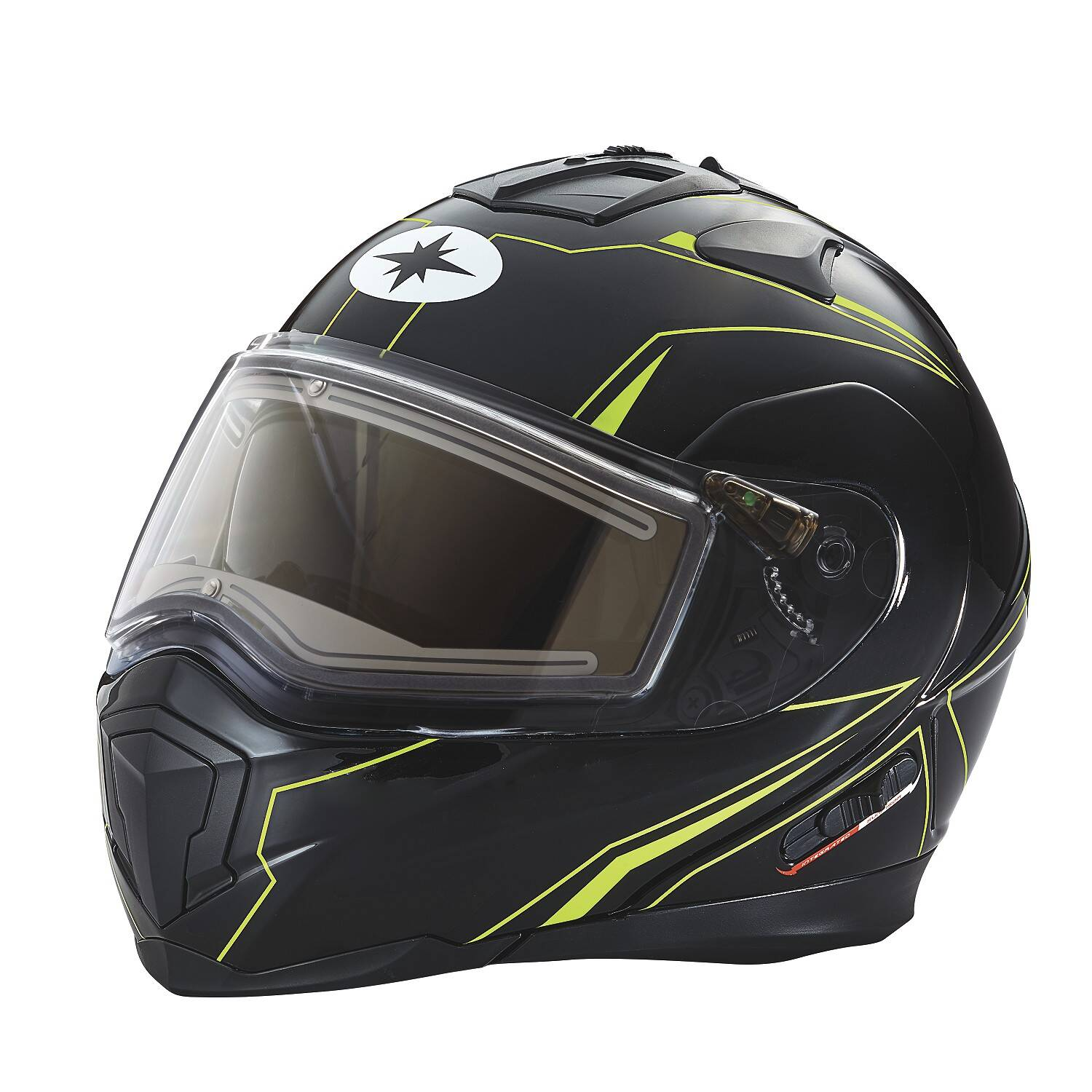 Modular 2.0 Adult Helmet with Electric Shield, Black/Lime