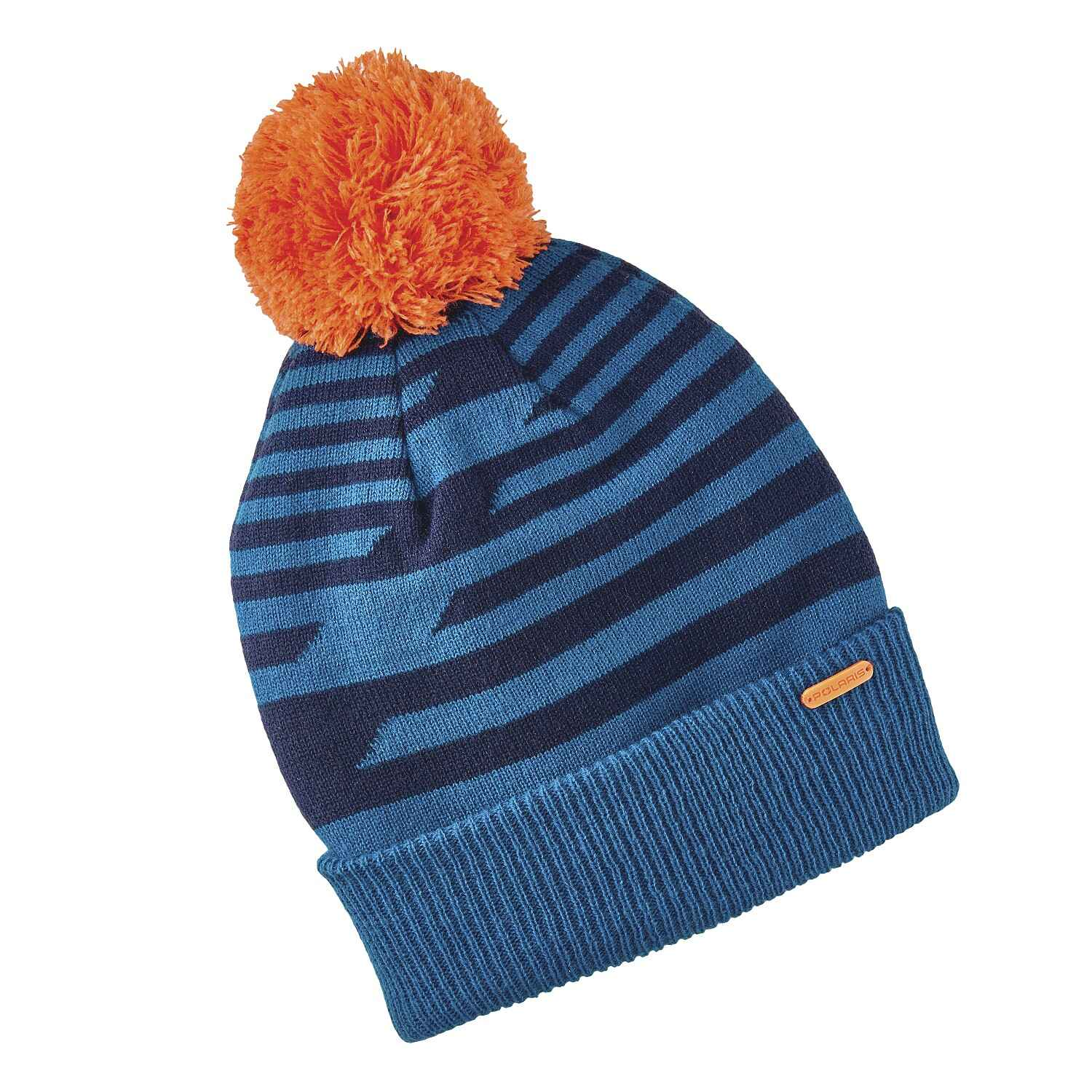 Youth Knit POM Beanie with Metallic Polaris® Tag, Blue/Orange